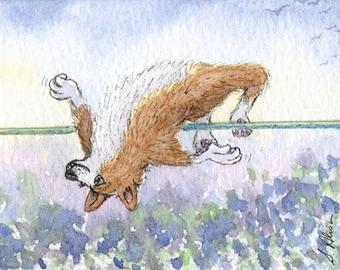 Corgi dog 8x10 print - The OlympiCorgi Games - high jump