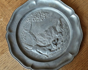 Vintage French Pewter Plaque Decorative Plate. Hunting Scene