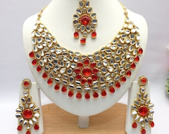 Handmade kundan Necklace Set with Earrings Indian Wedding Jewelry Indian jewelry Bollywood jewelry