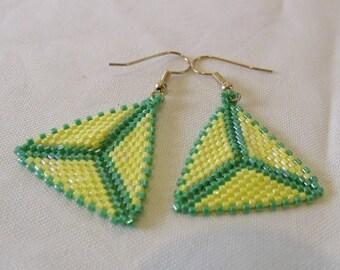 Triangle Earrings Yellow Green Handwoven Herringbone Peyote Stitch Gift