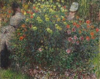 Claude Monet Ladies in Flowers 1875 Fine Art Vintage Wall Canvas Print