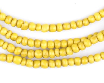 300 Vintage Yellow Ghana Glass Beads - African Beads - Yellow Seed Beads - Jewelry Making Supplies - Made in Ghana ** (GHN-SED-YLW-125)