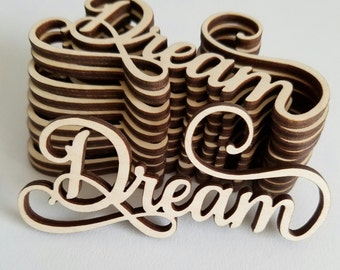 Set of 6 Wooden Dream Word Cut Outs ( Scrap Booking, Embellishments, Decoupage)
