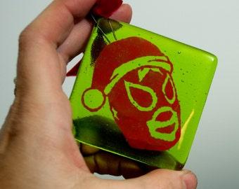 Fused Glass Santa Luchador Ornament, Mexican Santa Wrestler Xmas Tree Decoration