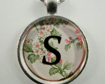 """Initial """"S"""" Necklace -- Spring pattern Personalized Letter S Necklace, Wedding Necklace, Bridesmaid Necklace, Hen Night Necklace, Friendship"""