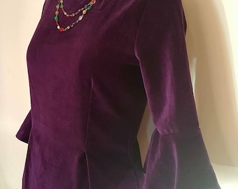 SALE-Rich Purple Velvet Dress with Tulip sleeve mid length and square neck line and pocket
