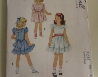 Antique McCall Pattern 7234 Child's Size 3 Dress