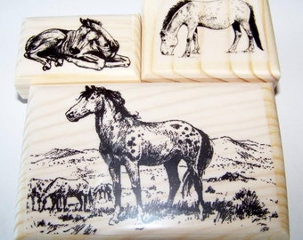 Lot of 3 Horse Horses New Mounted Rubber Stamp Stamps