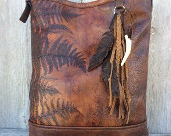 Woodland Leather Shoulder Bag / Fern Leather / Rustic Hobo / with Leather Feathers and Belt Shoulder Strap by Stacy Leigh