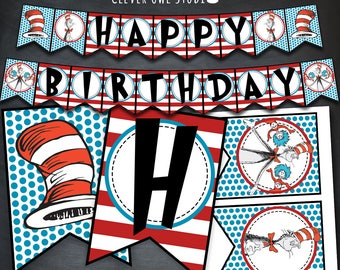 Cat in The Hat Banner, Cat in The Hat Birthday Banner, Cat in The Hat Party, Happy Birthday, Dr Seuss Book, Printable, Instant Download