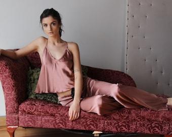 silk pajama set - ALICE silk charmeuse with spandex bridal sleepwear range - ready to ship - medium - petite - absinthe