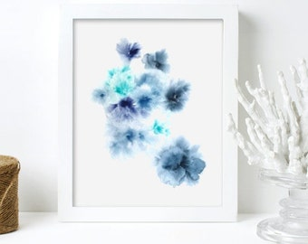 Blue Contemporary Art Watercolor Floral Painting Original Abstract Art Print Blue Flowers