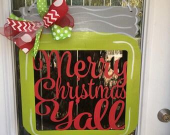 Merry Christmas y'all door hanger, Merry Christmas door hanger, Christmas door hanger, Christmas Decor, mason jar door hanger