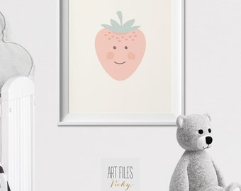 Strawberry nursery Print, Poster, Modern nursery print, Pastel, Nursery wall Art, Kids decor, fruit print, pastel, nursery art ArtFilesVicky