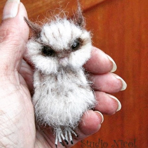 Made to order -Needle Felted Baby Owl Owlet OOAK handmade realistic wildlife fantasy fauxidermy sculpture ornament  Bird Collectable