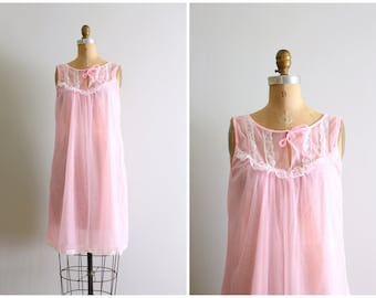 cotton candy pink chiffon nightie - vintage 60s neon pastel nightgown / Sweet Kawaii - fairy kei chiffon dress  - fairy kei pastel