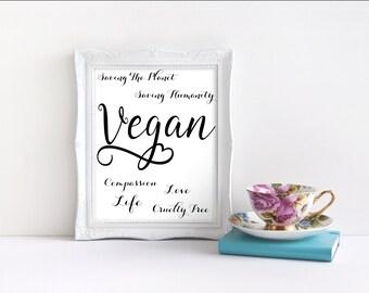 Vegan Print. Motivational Quotes. Inspirational Quotes. New Home Gift. Vegan Gift. Vegan Print. Vegan Quote