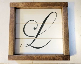 Rustic farmhouse inspired initial framed shiplap sign