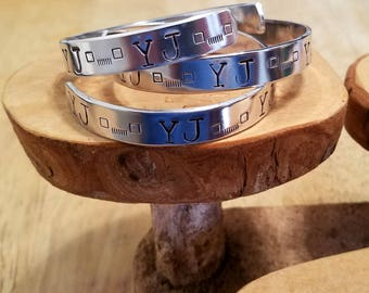 YJ square headlights and grille Jeep hand stamped and polished aluminum cuff bracelet