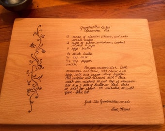 GRANDMOTHERS HANDWRITTEN RECIPE  Cutting Board  Personalized Handwritten Cutting Board