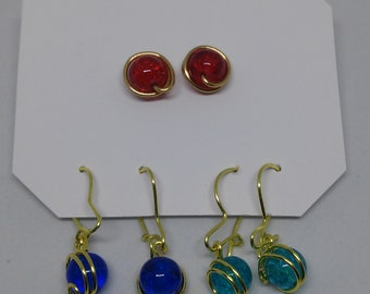 Set of 3 pairs of earrings with wire
