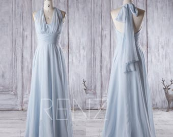 Bridesmaid Dress Light Blue Chiffon Dress,Wedding Dress,Convertible Ruched Wrap Maxi Dress,Infinity Party Dress,Multiway Evening Dress(T157)