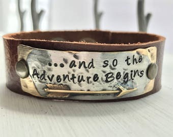 and so the Adventure Begins, arrow, hand stamped metal leather cuff bracelet affirmation ~ mantra ~ inspirational ~ jewelry gift idea