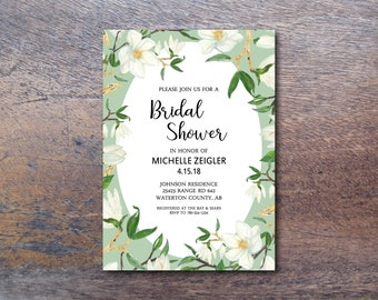Bridal Shower Invitation Printable // Garden Party Mint & Gold Baby Shower Invite // Botanical DIY Invites // Floral Party Invitation