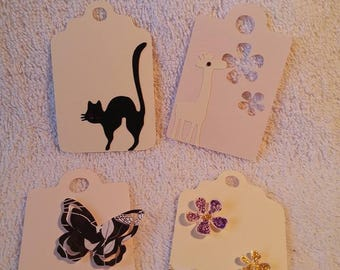 Set of 4 tags labels animals and flowers