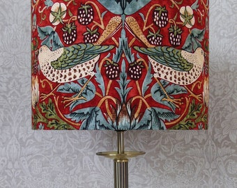 Red green blue William Morris Strawberry Thief Morris and Co Sanderson Lampshade - Green Bird