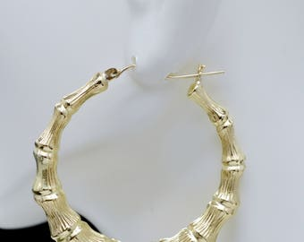 "REAL 10K Yellow Gold 2 "" 54mm Large Graduated Bamboo Hoop Earrings 7.2 gr"