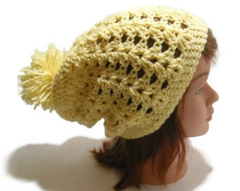 Holiday Gift, Tan Pom Pom Hat, Yellow Slouchy Hat, Mesh Slouchy Beanie, Pom Pom Beanie, Mesh Hat, Tan Beanie, Womens Slouchy Hat