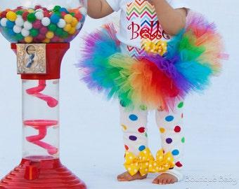 Rainbow Polka Dot Leg Warmers - Newborn leg warmers - Baby Girl Leg Warmers - yellow polka dot bows