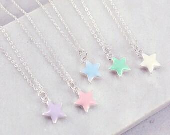 Dainty Necklace | Pastel Necklace | Tiny Star Necklace | Purple Necklace | Blue necklace | Tiny Necklace | Make a wish | Wish necklace |S