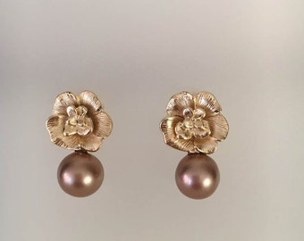 Brown Freswater Pearls, Pearl Earrings, Gold Earrings, Pearl Earring, Brown Earrings, Delicate Earrings, Delicate Jewelry