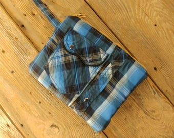 Cowgirl clutch upcycled royal blue western shirt