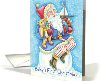 Baby's First Christmas Card With Cute Santa And Toys card - Cute baby's 1st Christmas