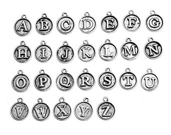 Small 26 Alphabet Letter Charms Antique Silver Tone, 10 Letters or One Full set of 26 Letter Beads, Round Letter Initial Charms, 5401, 531