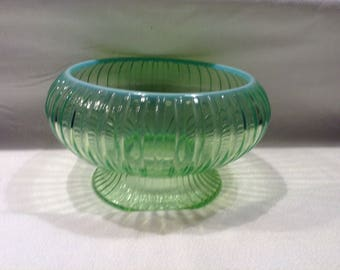 Opalescent green glass bowl