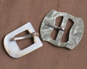 Two Small Vintage Buckles - MOP Shell & Celluloid - Antique Accessories, Supplies, Findings - Sewing, Crafting, Fashion