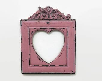 Shabby, Chippy Pink Frame - Heart Shaped - Rustic or Cottage Decor