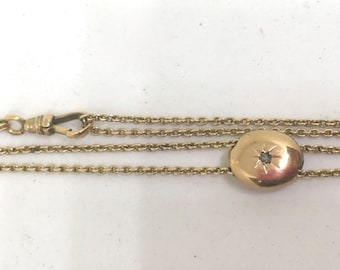 Victorian 10k Yellow Gold Long Guard Chain with Diamond slide