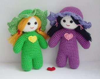 """PDF PATTERN amigurumi crochet toy """"Little girlfriends dolls"""" step by step tutorial/cute kawaii girls with hearts/doll for kids/mother's day"""