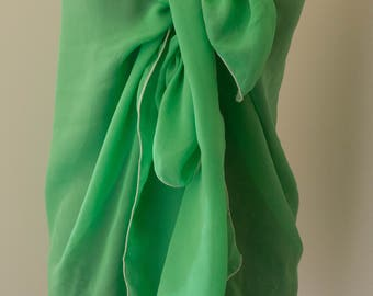 Long green voile silk scarf