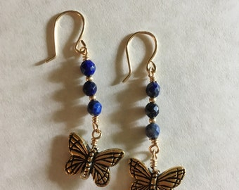 Butterfly Earrings. Blue Earrings, Gemstone Earrings, Sodalite Earrings, Blue Jewelry