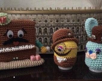 Amigurumi, steampunk minions and Bunny with piano hat, crochet animals