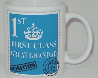First Class Great Grandad Mug Can Personalise Great Father's Day Gift Grandpa