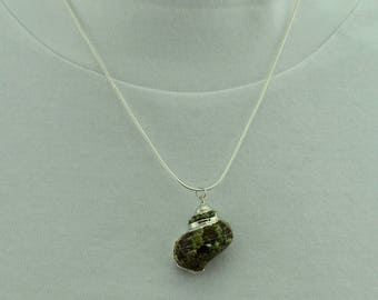 Green and Silver Turban Sea Shell Necklace