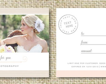 Gift Card Template for Wedding Photographers - Photography Gift Certificate - Digital Photoshop Templates