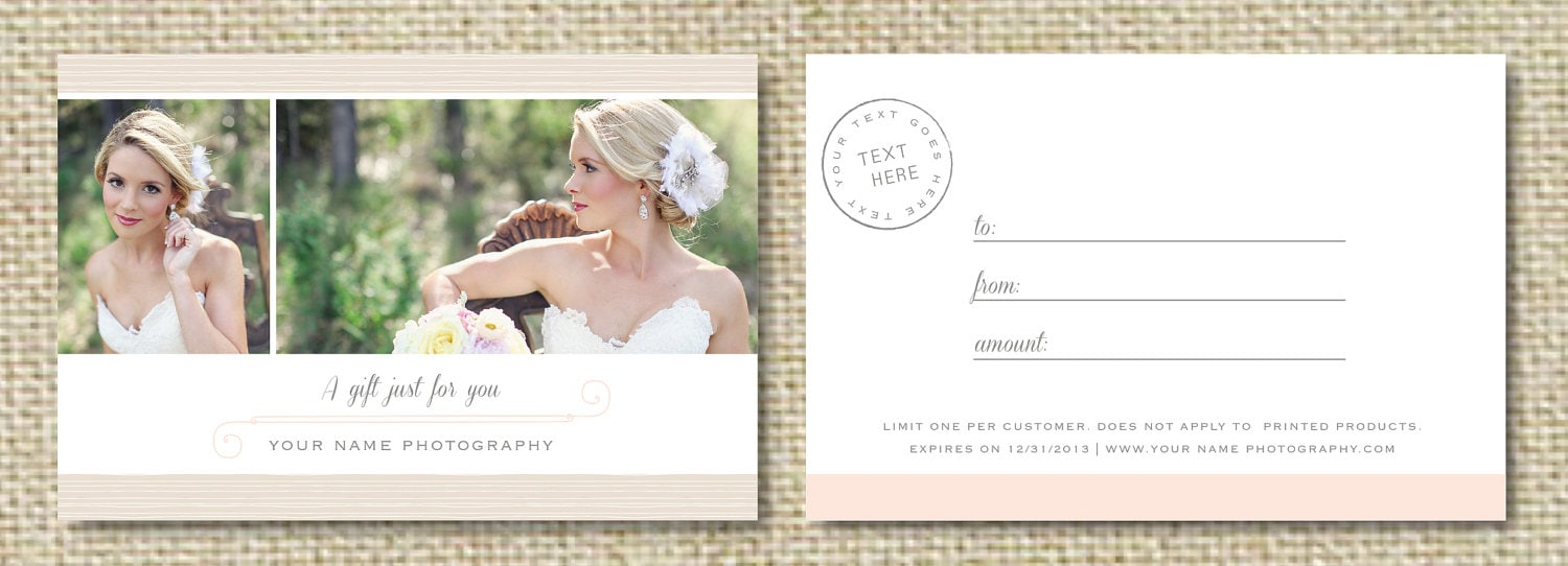 photography gift certificates templates free  Gift Card Template for Wedding Photographers Photography